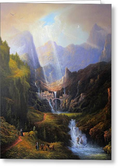 Lord Of The Rings Greeting Cards - Rivendell. The Last Homely House.  Greeting Card by Joe Gilronan