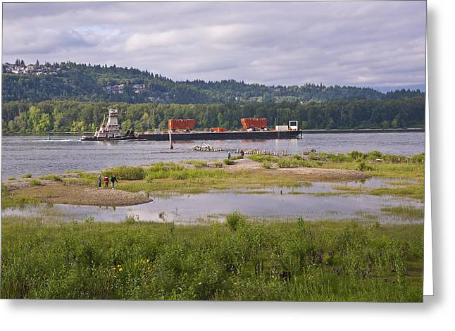 Bank; Clouds; Hills Greeting Cards - River activity Columbia River Oregon. Greeting Card by Gino Rigucci