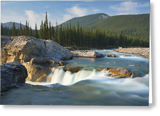 Alberta Foothills Landscape Greeting Cards - River And Waterfall In Morning Light Greeting Card by Philippe Widling