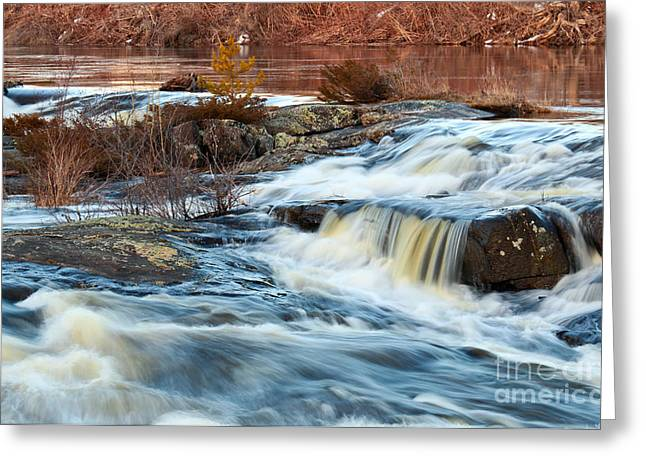 Sequins Greeting Cards - River and Waterfalls Greeting Card by Charline Xia