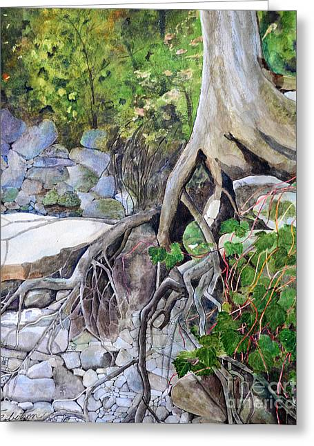 Tree Roots Paintings Greeting Cards - River Bank Greeting Card by Terri Robertson