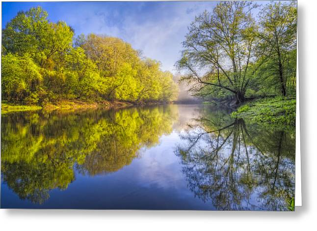 Mist On Lake Greeting Cards - River Beauty Greeting Card by Debra and Dave Vanderlaan