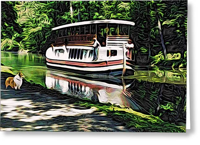 Welsh Waterways Greeting Cards - River Boat with Welsh Corgi Greeting Card by Kathy Kelly
