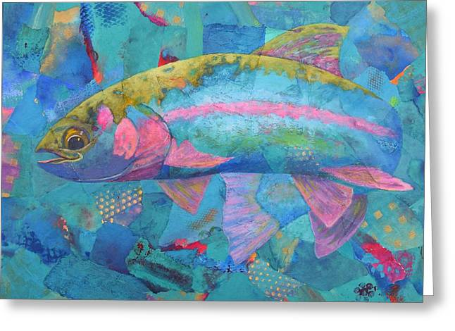 Rainbow Trout Greeting Cards - River Bow Greeting Card by Nancy Jolley