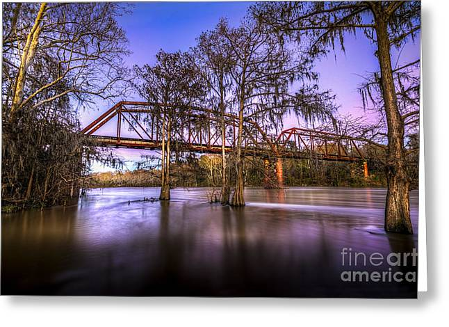 Flint Greeting Cards - River Bridge Greeting Card by Marvin Spates