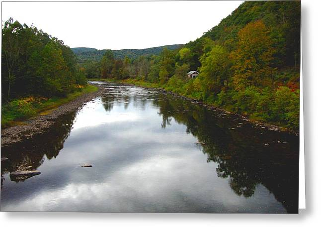 River Cabin Greeting Card by Bruce Lennon