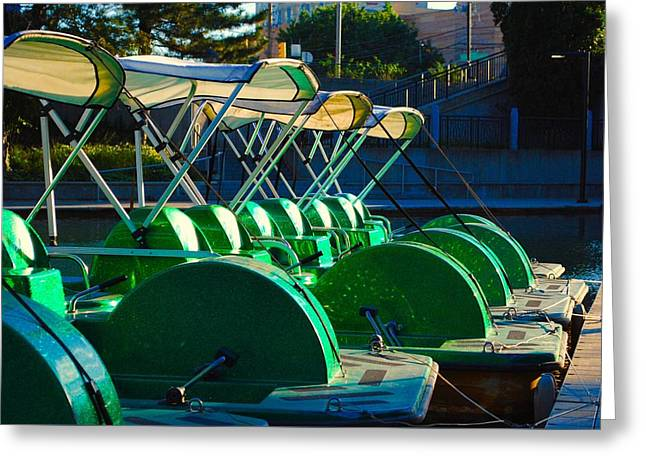 Docked Boats Greeting Cards - River Cars Greeting Card by Jackson ElRite