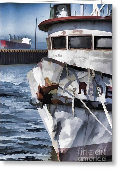 Fishing Boats Greeting Cards - River Character Greeting Card by Robert Potts