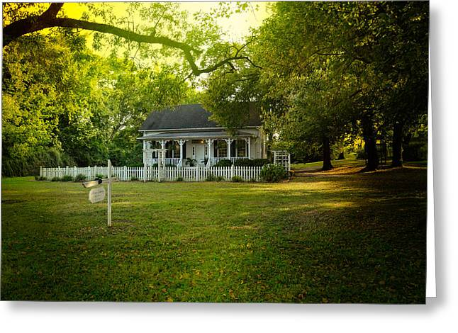 Historic Home Greeting Cards - River Cottage in Summer Greeting Card by Jai Johnson