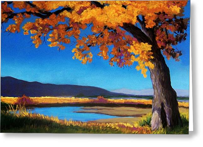 Fall Colors Pastels Greeting Cards - River Cottonwood Greeting Card by Candy Mayer