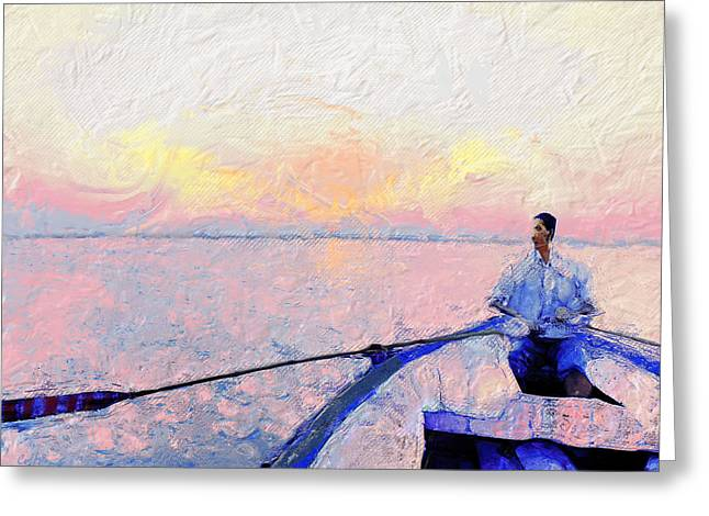 Canoe Greeting Cards - River Crossing Greeting Card by Carl Rolfe