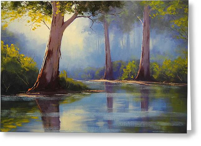 Australian Tree Greeting Cards - River Gum trees Greeting Card by Graham Gercken