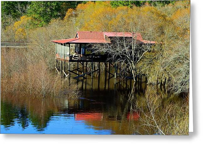 Pierced Screen Greeting Cards - River House Greeting Card by Laura Ragland