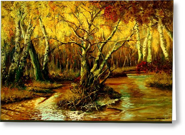 Shades Of Red Greeting Cards - River in the forest Greeting Card by Henryk Gorecki