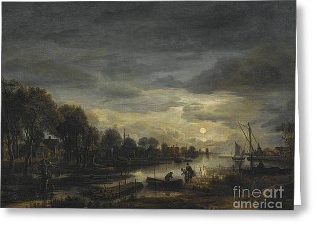 Moonlight On The River Greeting Cards - River Landscape By Moonlight Greeting Card by Celestial Images