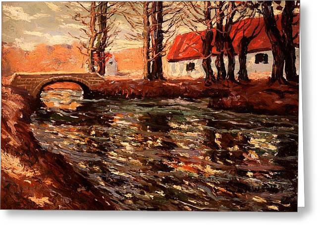 Autumn Leaf On Water Paintings Greeting Cards - River Landscape Greeting Card by Ernest Lawson