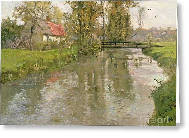 River Landscape Greeting Card by Fritz Thaulow