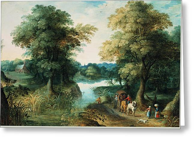 Horse Pulling Wagon Greeting Cards - River Landscape Greeting Card by Pieter the Elder Bruegel