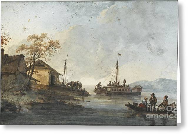 French School; (18th Century) Greeting Cards - River Landscape With Figures In A Boat Greeting Card by MotionAge Designs
