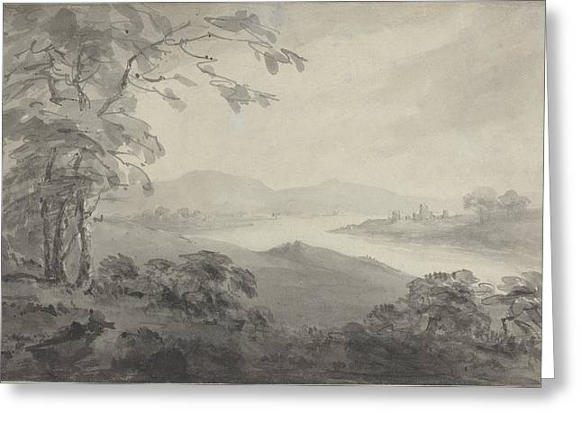 Outlook Drawings Greeting Cards - River Landscape With Ruins Greeting Card by William Gilpin