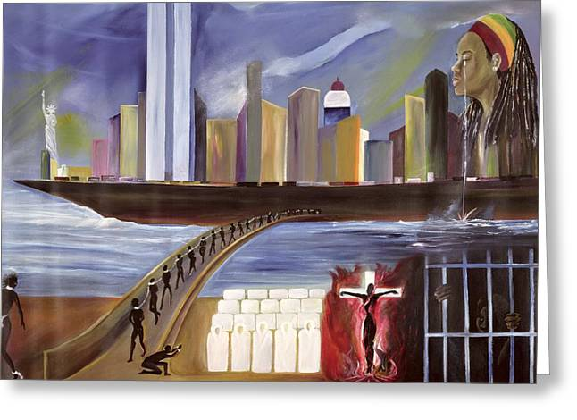 Twin Towers Greeting Cards - River of Babylon  Greeting Card by Ikahl Beckford