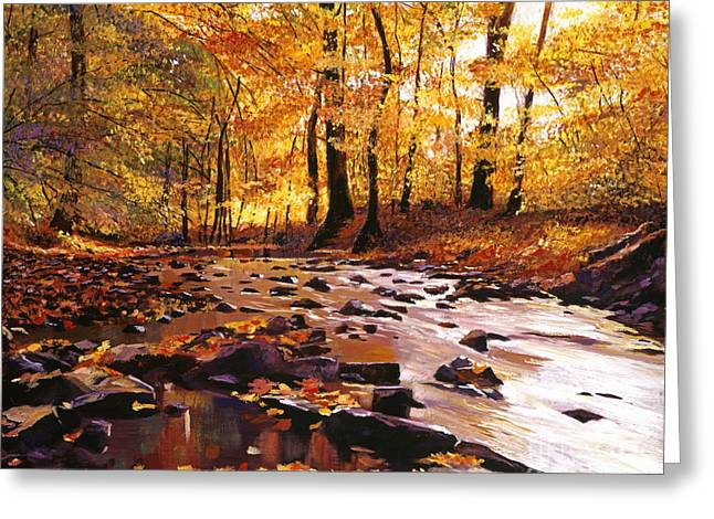Fall Colors Greeting Cards - River of Gold Greeting Card by David Lloyd Glover