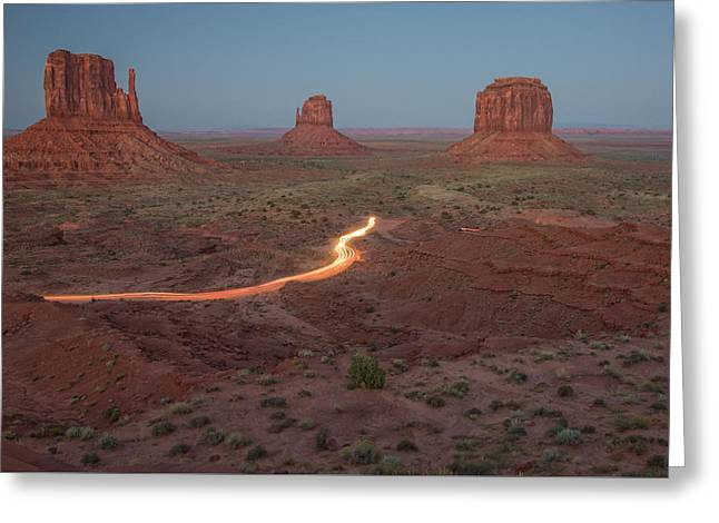 Monolith Greeting Cards - River of Light, Monument Valley Greeting Card by Vanessa Kauffmann