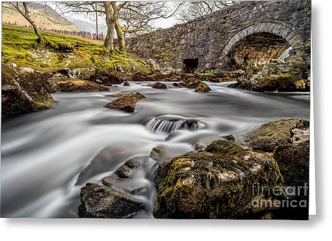 Rapids Greeting Cards - River Ogwen Bridge Greeting Card by Adrian Evans