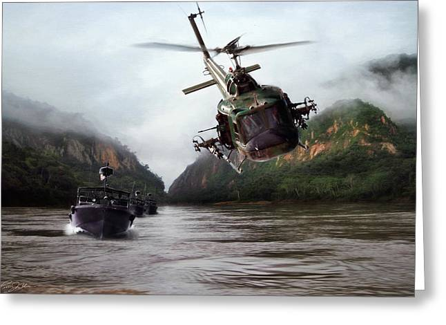 Navy Seal Greeting Cards - River Patrol Greeting Card by Peter Chilelli