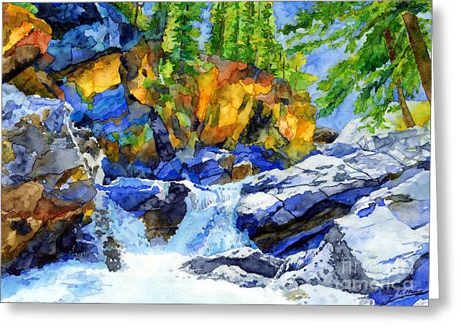 Rock Walls Greeting Cards - River Pool Greeting Card by Hailey E Herrera