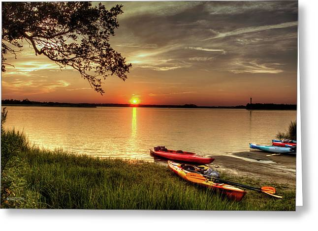 Sunset Greeting Cards Greeting Cards - River Road Park Never Disappoints Greeting Card by Phil Mancuso