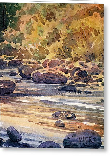 River Paintings Greeting Cards - River Rocks Greeting Card by Donald Maier