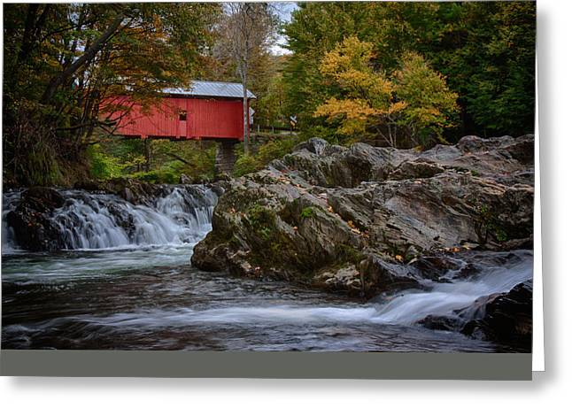 Solitude Greeting Cards - River runs under the slaughterhouse  covered bridge Greeting Card by Jeff Folger