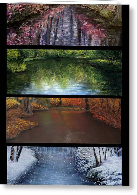 Winter Pastels Greeting Cards - River Seasons Greeting Card by Susan Jenkins