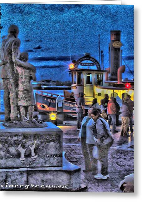 Slavery Ship Greeting Cards - River Street Blues Greeting Card by Vince Green