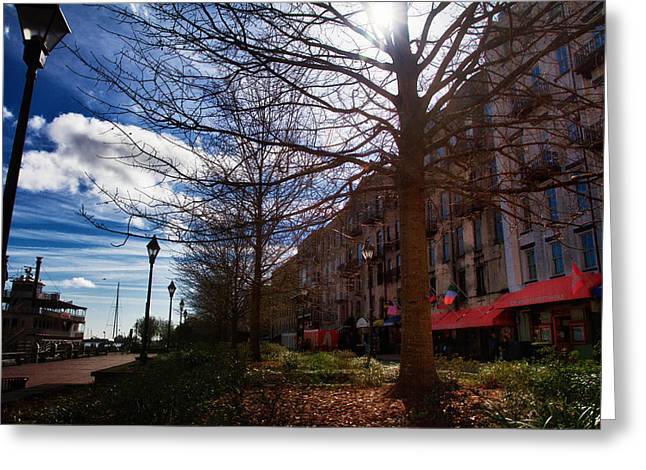 Mccoy Greeting Cards - River Street Savannah 8 Greeting Card by A Different Brian Photography