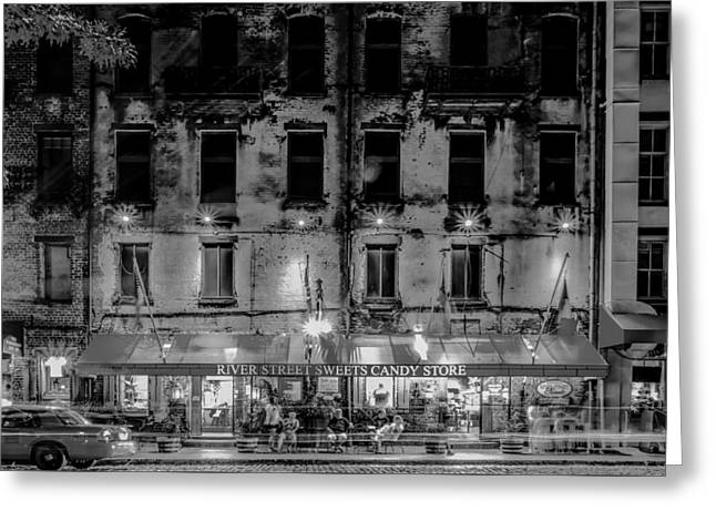 Historic Ship Greeting Cards - River Street Sweets Candy Store Black White  Greeting Card by Alexandr Grichenko