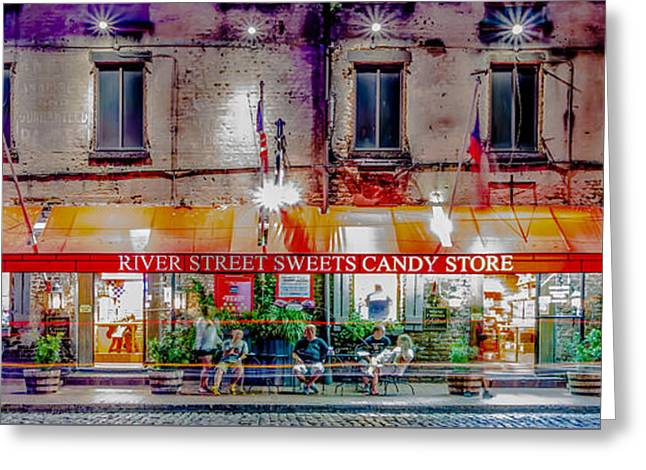 Historic Ship Greeting Cards - River Street Sweets Candy Store Savannah Georgia   Greeting Card by Alexandr Grichenko