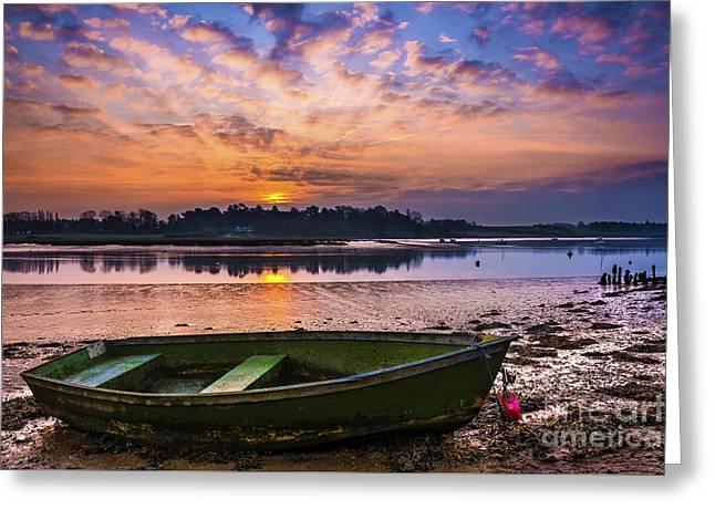 Haze Greeting Cards - River Sunrise Greeting Card by Svetlana Sewell