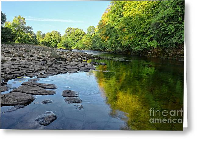 River Swale, Easby Greeting Card by Stephen Smith