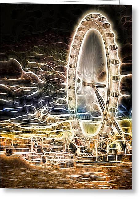 River Thames And The London Eye Neon Art Greeting Card by John Williams