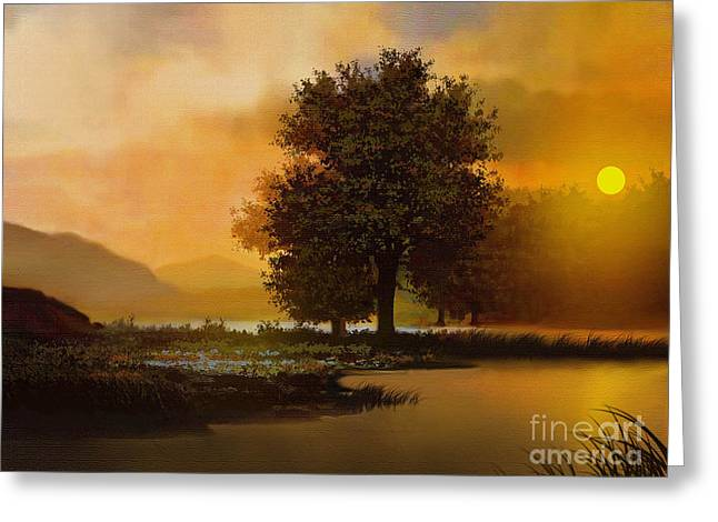 Sunset Greeting Cards Digital Greeting Cards - River Tree Greeting Card by Robert Foster