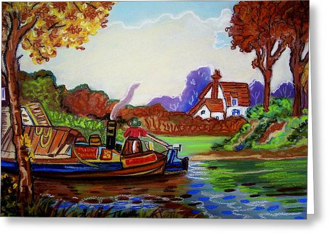 Fall Trees Greeting Cards - River trip Greeting Card by Ruth  Sears