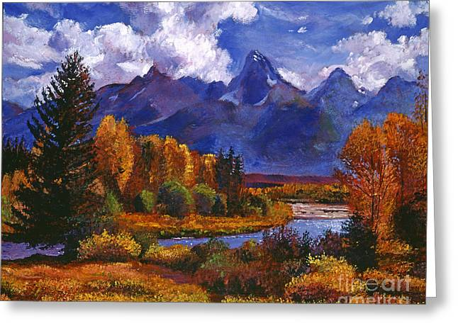 River Paintings Greeting Cards - River Valley Greeting Card by David Lloyd Glover