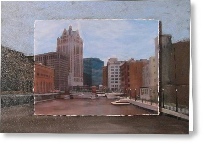 Riverwalk Mixed Media Greeting Cards - River View layered Greeting Card by Anita Burgermeister