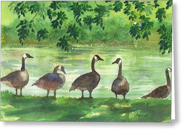 River Paintings Greeting Cards - River Walk or Where is Waldo Greeting Card by Marsha Elliott