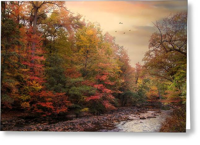 Autumn Landscape Digital Greeting Cards - Riverbank Beauty Greeting Card by Jessica Jenney