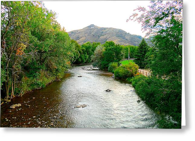 Landscape With A Road Greeting Cards - Riverbend Greeting Card by Theresa Adams