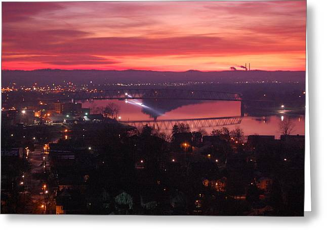 Recently Sold -  - Boats On Water Greeting Cards - Riverboat Lights at Sunrise Greeting Card by Bruce Stewart