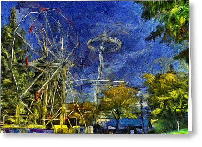 Riverfront Park - Pavilion And Ferris Wheel Greeting Card by Mark Kiver